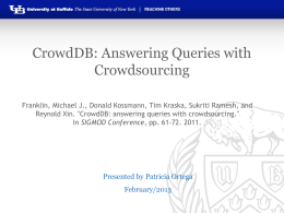 CrowdDB: Answering Queries with Crowdsourcing