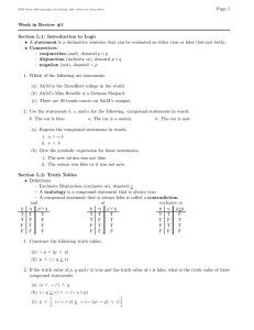 Page 1 Week in Review #1 Section L.1: Introduction to Logic