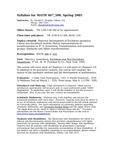 Syllabus for MATH 467_500, Spring 2005