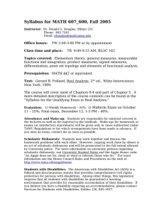 Syllabus for MATH 607_600, Fall 2005