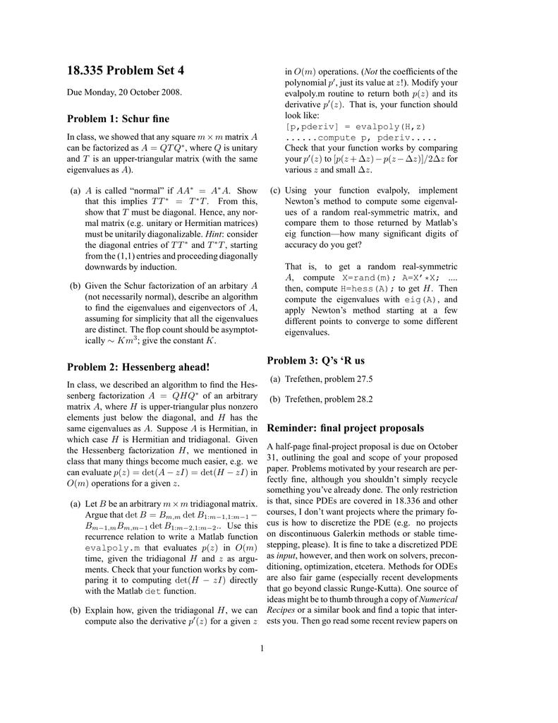 18 335 Problem Set 4 Problem 1: Schur fine