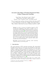 Accurate Decoding of Pooled Sequenced Data Using Compressed Sensing