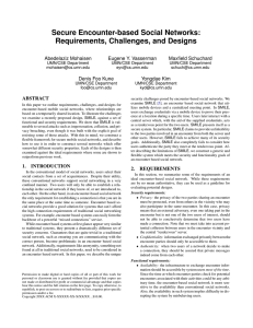 Secure Encounter-based Social Networks: Requirements, Challenges, and Designs Abedelaziz Mohaisen Eugene Y. Vasserman