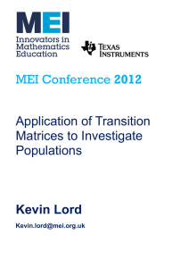 2012  Application of Transition Matrices to Investigate