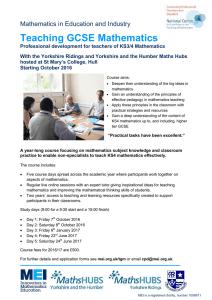 Teaching GCSE Mathematics Mathematics in Education and Industry