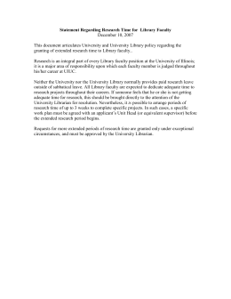 Statement Regarding Research Time for  Library Faculty December 10, 2007
