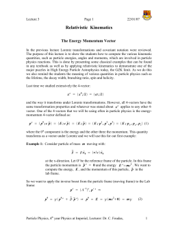 Relativistic  Kinematics The Energy Momentum Vector