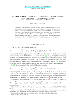 BAUTIN BIFURGATION OF A MODIFIED GENERALIZED VAN DER POL-MATHIEU EQUATION Zdeněk Kadeřábek