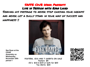 SAFFE CDUB Week Presents Live in Session with Ryan Laird