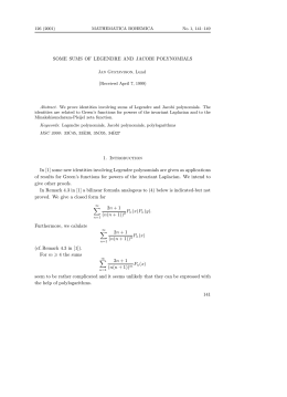SOME SUMS OF LEGENDRE AND JACOBI POLYNOMIALS (