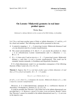 On Lorentz–Minkowski geometry in real inner product spaces Walter Benz Advances in Geometry
