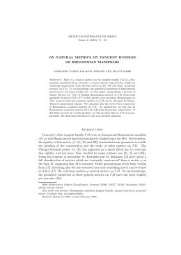 c8694235ba57 ON NATURAL METRICS ON TANGENT BUNDLES OF RIEMANNIAN MANIFOLDS