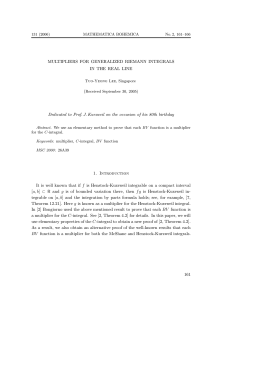 MULTIPLIERS FOR GENERALIZED RIEMANN INTEGRALS IN THE REAL LINE (