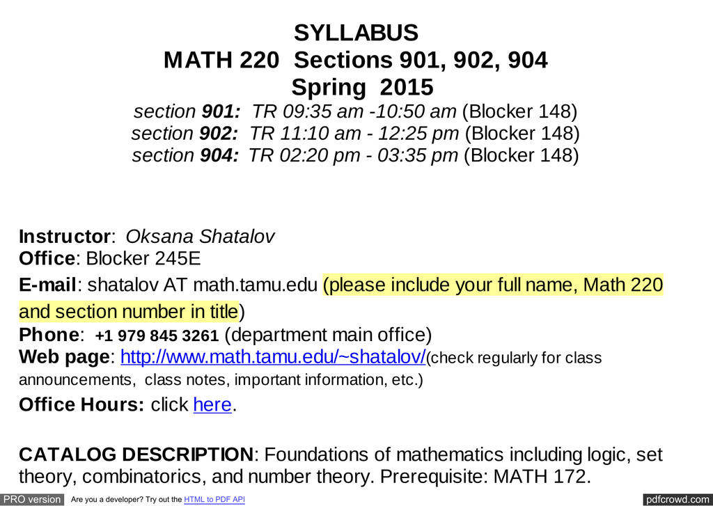 SYLLABUS MATH 220 Sections 901, 902, 904 Spring 2015