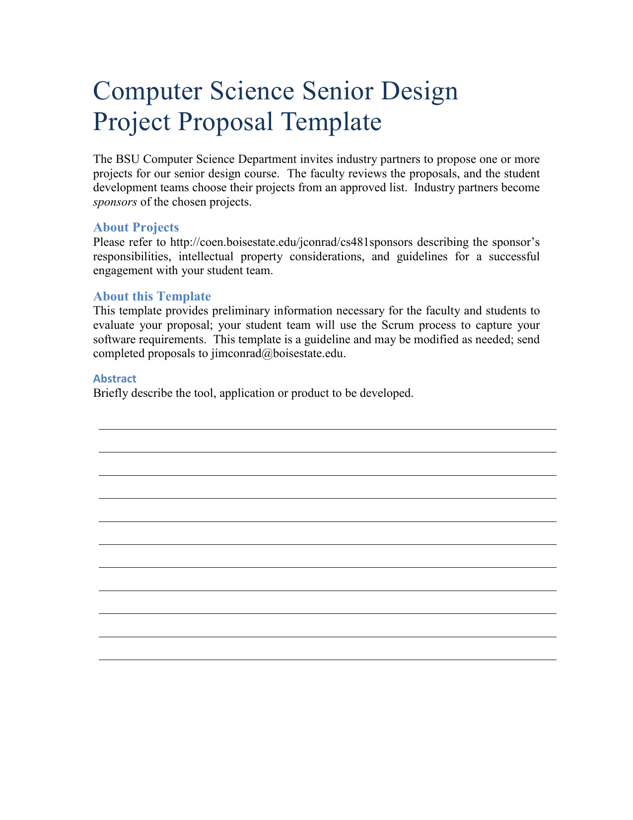 Computer Science Senior Design Project Proposal Template