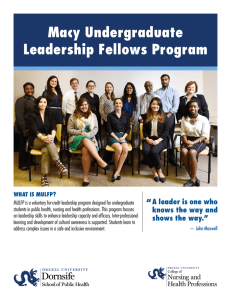 "Macy Undergraduate Leadership Fellows Program "" A leader is one who"
