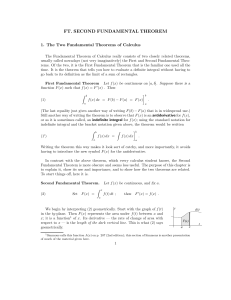 FT. SECOND FUNDAMENTAL THEOREM 1. The Two Fundamental Theorems of Calculus