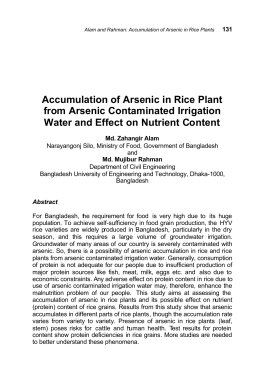 Accumulation of Arsenic in Rice Plant from Arsenic Contaminated Irrigation