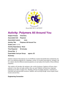 Activity: Polymers All Around You