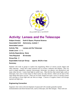 Activity: Lenses and the Telescope