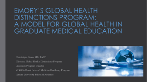 EMORY'S GLOBAL HEALTH DISTINCTIONS PROGRAM: A MODEL FOR GLOBAL HEALTH IN