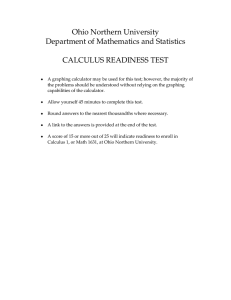 Ohio Northern University Department of Mathematics and Statistics  CALCULUS READINESS TEST