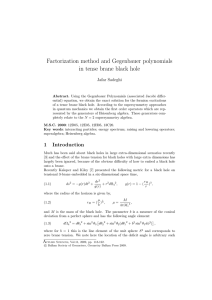 Factorization method and Gegenbauer polynomials in tense brane black hole Jafar Sadeghi
