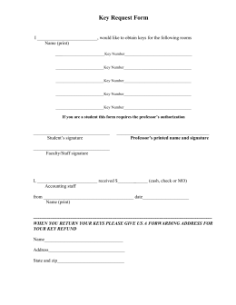 Key Request Form  Name (print)
