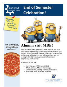 End of Semester Celebration! Alumni visit MBE! Join us for pizza,