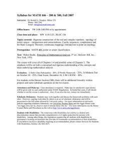 Syllabus for MATH 446 – 200 & 500, Fall 2007