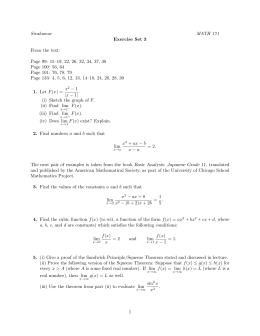 Sivakumar MATH 171 Exercise Set 3 From the text: