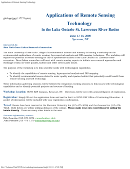 Applications of Remote Sensing Technology in the Lake Ontario-St. Lawrence River Basins