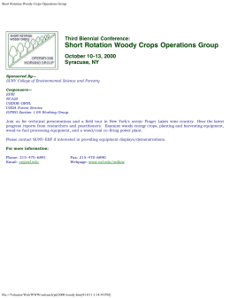 Short Rotation Woody Crops Operations Group October 10-13, 2000 Syracuse, NY