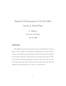 Enhanced Transmission by Periodic Hole Arrays in Metal Films Abstract K. Milliman