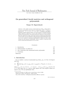 New York Journal of Mathematics On generalized Jacobi matrices and orthogonal polynomials
