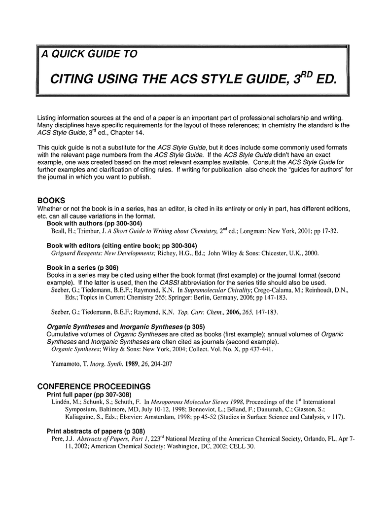 Acs style guide ed citing using the 3 citing using the 3 ccuart Images
