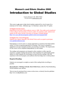 Introduction to Global Studies Women's and Ethnic Studies 2900
