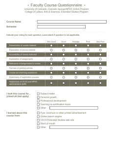 Faculty Course Questionnaire •