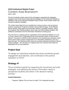 Content Area Brainstorm UCCS Institutional Website Project