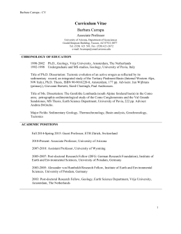 Curriculum Vitae Barbara Carrapa Associate Professor Barbara Carrapa - CV