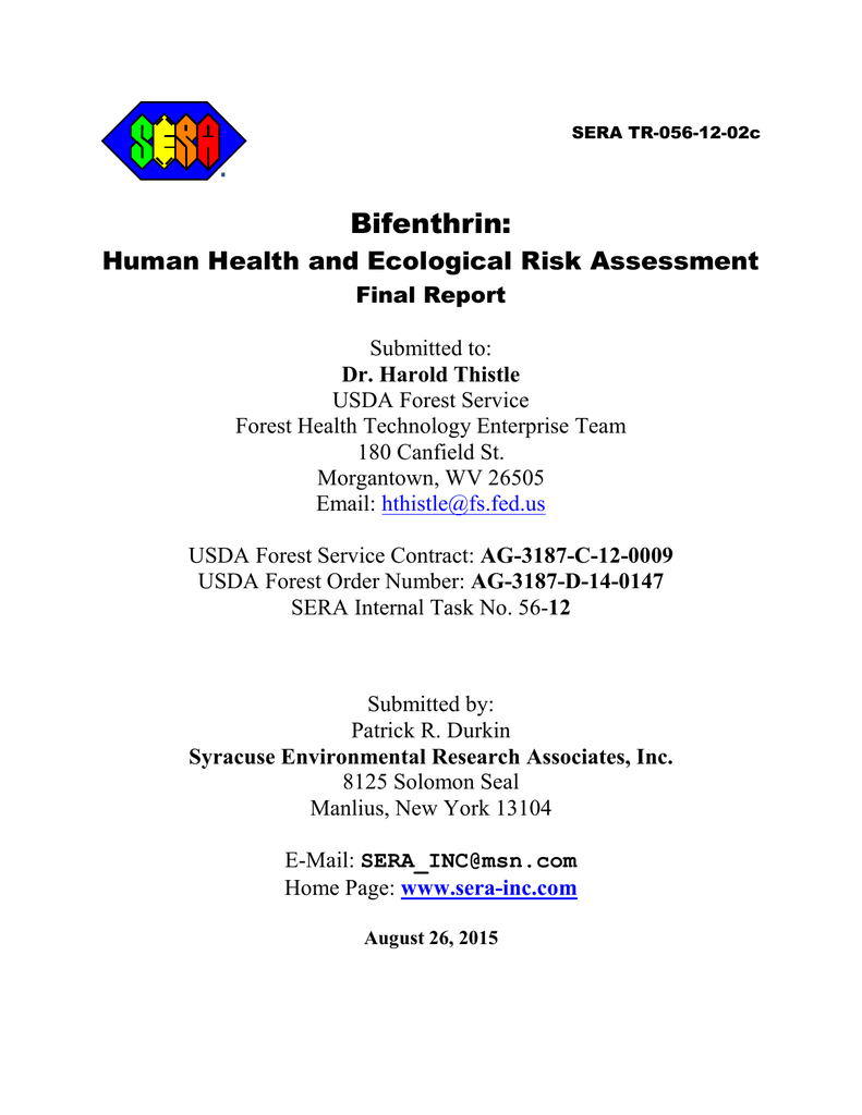 Bifenthrin: Human Health and Ecological Risk Assessment