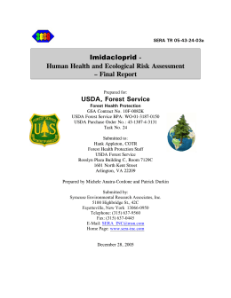 - Human Health and Ecological Risk Assessment – Final Report USDA, Forest Service