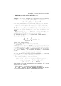 7 OPEN PROBLEMS IN COMBINATORICS Problem 1 (see Catalan addendum variables x