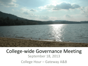 College-wide Governance Meeting September 18, 2013 College Hour – Gateway A&B