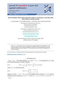 MONTGOMERY IDENTITIES FOR FRACTIONAL INTEGRALS AND RELATED FRACTIONAL INEQUALITIES