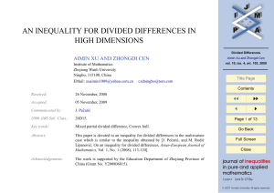 AN INEQUALITY FOR DIVIDED DIFFERENCES IN HIGH DIMENSIONS JJ II