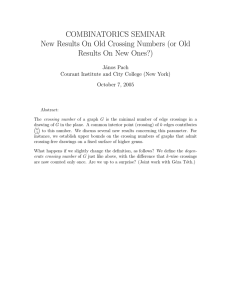 COMBINATORICS SEMINAR New Results On Old Crossing Numbers (or Old J´anos Pach