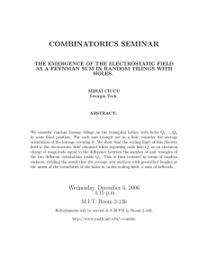 COMBINATORICS SEMINAR THE EMERGENCE OF THE ELECTROSTATIC FIELD HOLES.