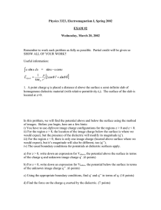 Physics 3323, Electromagnetism I, Spring 2002  EXAM #2 Wednesday, March 20, 2002