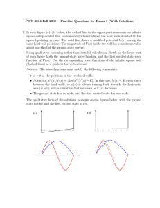 PHY 4604 Fall 2008 – Practice Questions for Exam 1 (With... 1. In each figure (a)–(d) below, the dashed line in the... square-well potential that vanishes everywhere between the hard walls denoted by...